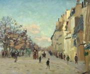Urban Winter Scenes Framed Prints - Paris Quai de Bercy Snow Effect Framed Print by Jean Baptiste Armand Guillaumin