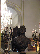 Paris Fine Art By Kathy Fornal Prints - Paris Sculpture Bust - Hotel Regina Chandelier Print by Kathy Fornal