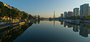 Paris Art - Paris Skyline And Tower Reflecting On Water by Cyril Couture @