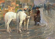 Umbrella Paintings - Paris Street Scene by Childe Hassam