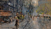 Europe Painting Acrylic Prints - Paris Street View Acrylic Print by Pg Reproductions