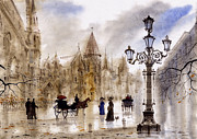 Cities Painting Prints - Paris Print by Svetlana and Sabir Gadghievs