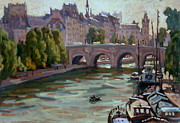 Daily Painter Prints - Paris The Seine and Pont Neuf Print by Thor Wickstrom