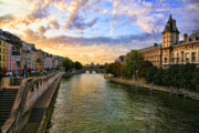 Chuck Kuhn Metal Prints - Paris The Seine River C Metal Print by Chuck Kuhn