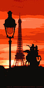 Lamp Digital Art Posters - Paris Tour Eiffel Red Poster by Yuriy  Shevchuk