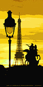Light Digital Art Framed Prints - Paris Tour Eiffel Yellow Framed Print by Yuriy  Shevchuk
