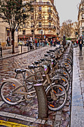 Paris Wheels For Rent Print by Bob and Nancy Kendrick
