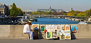Paris Drawings Posters - PARISIAN ARTIST an artist displays her work on a bridge over the Seine Poster by Louise Heusinkveld