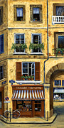 European Street Scene Prints - Parisian Bistro and Butcher Shop Print by Marilyn Dunlap