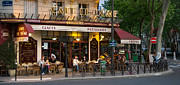Night Cafe Framed Prints - Parisian Cafe at Dusk Framed Print by Kent Sorensen