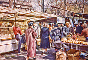 Shoppers Framed Prints - Parisian Market 1954 Framed Print by Chuck Staley