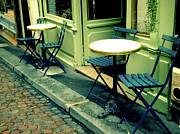 Outdoor Chair Posters - Parisian Patio Poster by Maryam Siddiqi