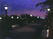 Park Benches Paintings - Park at Dusk by Sarah Yuster