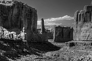 Moab Utah Posters - Park Avenue 2 Arches National Park Black and White Poster by Ken Smith