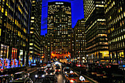 Grand Central Station Posters - Park Avenue at Night Poster by Randy Aveille
