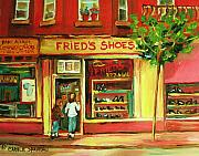 Montreal Storefronts Paintings - Park Avenue Shoe Store by Carole Spandau