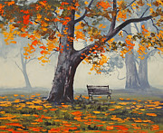 Autumn Landscape Paintings - Park Bech by Graham Gercken