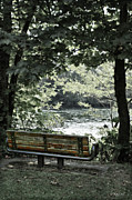 River Park Framed Prints - Park Bench 2 Framed Print by DMSprouse Art
