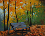 Fall Trees Posters - Park Bench  Poster by Graham Gercken