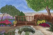 Park Bench In A Garden Print by Patty Vicknair