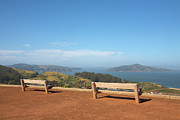 Golden Gate National Recreation Area Photos - Park Benches Overlooking Angel Island And Sf Bay by Jason Todd