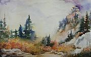 North Cascades Painting Posters - Park Butte Lookout - First Snow Poster by Sukey Jacobsen
