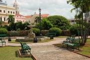 Park Benches Photos - Park in Casco Viejo by Iris Greenwell