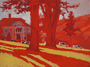 Lewiston Painting Prints - Park in Red Print by Robert Bissett