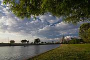 Chicago Skyline Photos - Park scene with rower and skyline by Sven Brogren