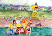 Life Guard Prints - Park Side Beaches Print by Mindy Newman