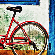 Pedals Framed Prints - Parked Bicycle in Vibrant Colors Framed Print by Skip Nall