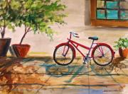 Biking Drawings Posters - Parked in the Courtyard Poster by John  Williams