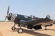 Matte Print Prints - Parked WWII Corsair Fighter Print by M K  Miller