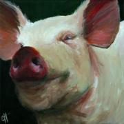 Piglet Paintings - Parker the Pig by Cari Humphry