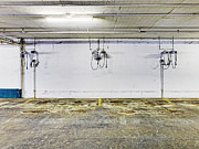 Basement Photo Posters - Parking Garage With Charging Stalls Poster by Skip Nall