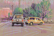 Plein Air Drawings Metal Prints - Parking Lot B Metal Print by Donald Maier
