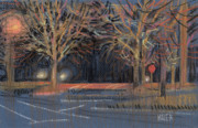 Stop Sign Pastels - Parking Lot by Donald Maier