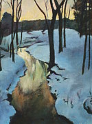 Snowy Stream Paintings - Parlee Farm Sunset Creek by Claire Gagnon