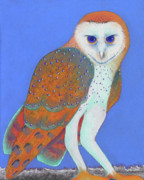 Birds Pastels Prints - Parliament of Owls detail 1 Print by Tracy L Teeter