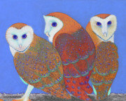 Birds Pastels Prints - Parliament of Owls detail 2 Print by Tracy L Teeter