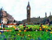 London England  Digital Art Framed Prints - Parliament Square London Framed Print by Kurt Van Wagner