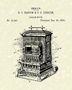 1880s Drawings - Parlor Stove Bascom and Heister 1884 Patent Art by Prior Art Design
