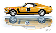 Race Digital Art Prints - Parnelli Jones Trans Am Mustang Print by David Kyte