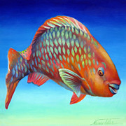 Rainbow Fish Paintings - Parrot Fish by Nancy Tilles