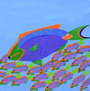 Caribbean Sea Mixed Media - Parrot Fish by Sula Chance