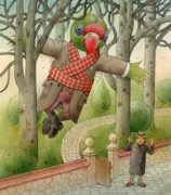 Green Drawings Originals - Parrots 01 by Kestutis Kasparavicius