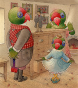 Green Room Framed Prints - Parrots 04 Framed Print by Kestutis Kasparavicius