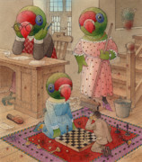 Chess Framed Prints - Parrots 06 Framed Print by Kestutis Kasparavicius