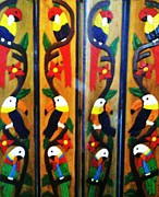 Screen Doors Photos - Parrots and Tucans  by Unique Consignment