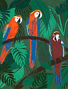 Printmaking Mixed Media - Parrots by Ariela Boronat